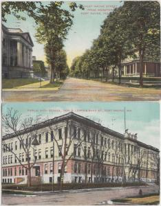 2 FORT WAYNE Indiana Ind Postcards HIGH SCHOOL West Wayne St Homes