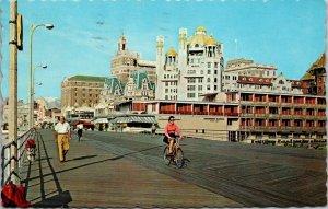 Boardwalk at Night Atlantic City New Jersey NJ Postcard Chrome - PHOTO
