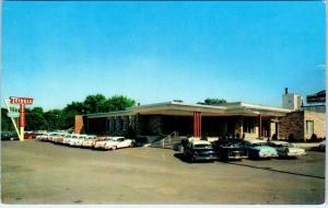 DYER, IN Indiana  TEIBEL'S RESTAURANT  Lots of  c1950s Cars  Roadside   Postcard