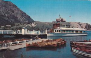 Prince of Wales Hotel and Waterton Lake's boat dock, Alberta, Canada, PU-1976
