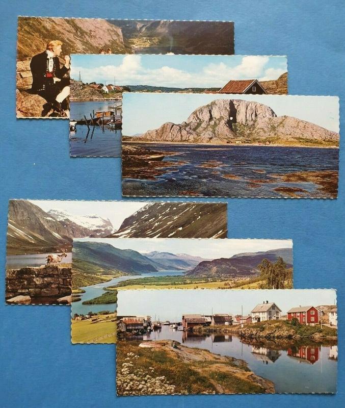 Set of 6 Miniature Vintage Norway Panoramic Postcards 28R