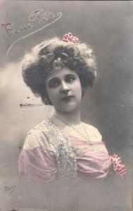 Early women portrait photo postcard charming lady coiffure retro hairstyle