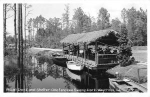 Waycross Georgia Okefenokee Swamp Park Boat Dock Real Photo Postcard JA455131