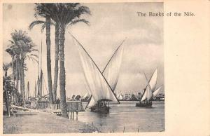 Egypt Africa Banks of the Nile Sailing Antique Postcard J76348