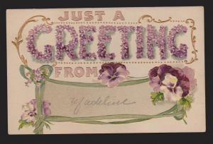 General Greetings - Flowers - Used - Embossed