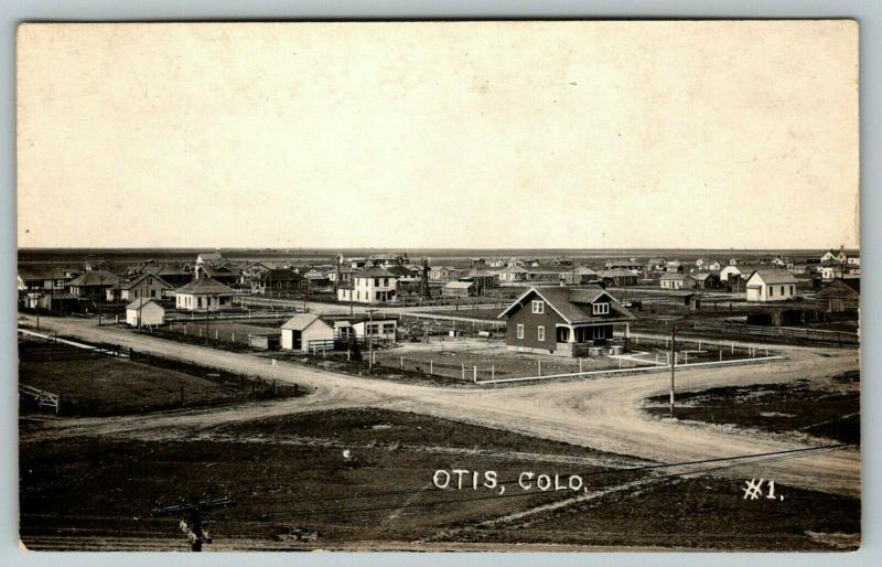 Otis Colorado~Crossroads at Residential Neighborhood~Homes~Barns~1920s RPPC