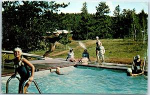 Florissant, Colorado Postcard HIGH TRAILS RANCH for Girls Pool Scene c1960s