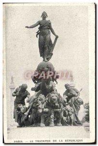 Old Postcard Paris Le Triomphe De La Republique Lion
