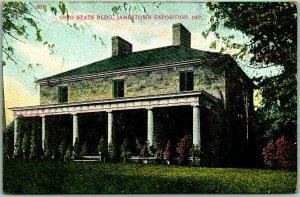 1907 JAMESTOWN EXPOSITION Postcard Ohio State Building w/ Athlophoros Ad