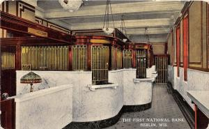 D82/ Berlin Wisconsin Wi Postcard? First National Bank Interior Tellers