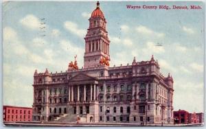 Detroit, Michigan Postcard Wayne County Building Street View 1910 MI Cancel