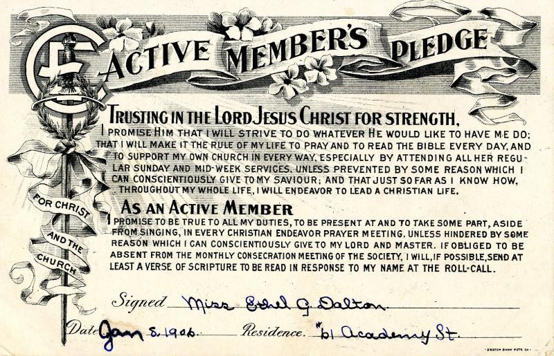 Christian Faith - Active Member's Pledge, 1906