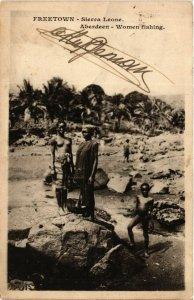 PC CPA ETHNIC NUDE FEMALE WOMAN FISHING SIERRA LEONE AFRICA Postcard (b556)
