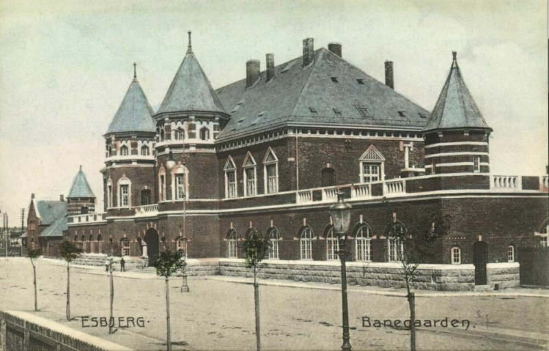 denmark, ESBJERG, Banegaarden, Railway Station (1910s) Postcard