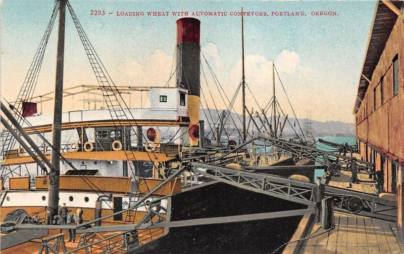Portland Oregon~Loading Wheat with Automatic Conveyors~Men on Deck~c1910 Pc