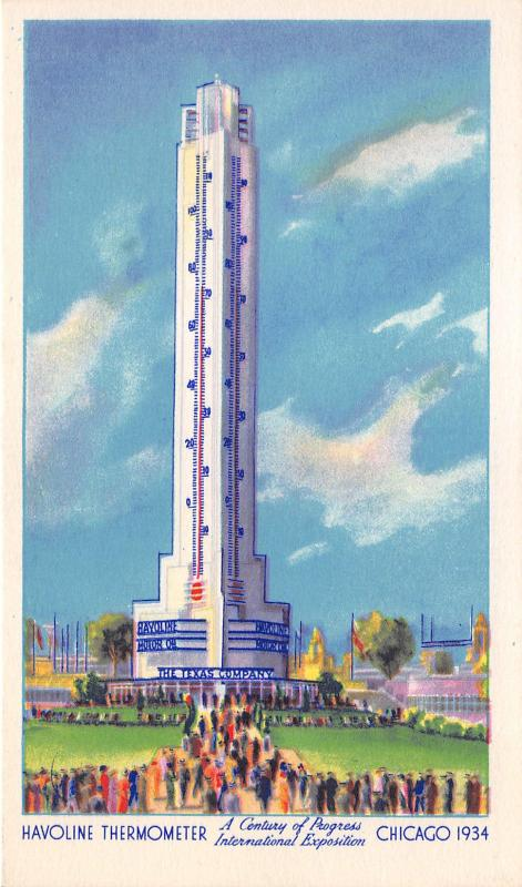 Chicago Illinois~International Expo~Havoline Thermometer~1934 Postcard