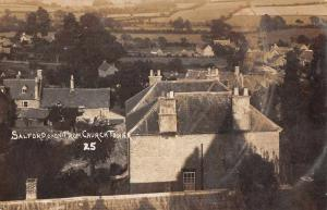 Salford Oxon England View from Church Tower Real Photo Antique Postcard J74537