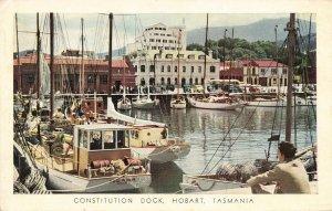 Constitution Dock, Hobart, Tasmania,  Australia, postcard, used in 1958