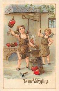 F12/ Valentine's Day Love Holiday Postcard c1910 Gold Blacksmith Anvil 5