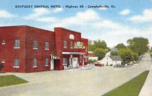Campbellsville Kentucky Central Hotel Street View Antique Postcard K80877