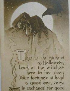 Halloween Postcard Gibson Gothic Moon Bat Sepia Original Philadelphia 1910 Party