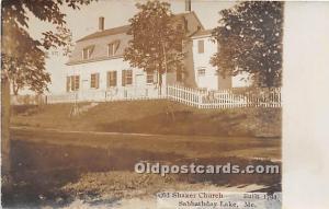 Old Vintage Shaker Post Card Old  Church Built 1794, real photo Sabbathday La...