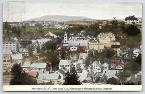 Peterboro New Hampshire~Downtown Birdseye @ East Hill~Monadnock Mountain~1916