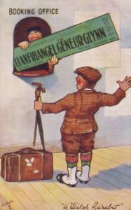 Llanfihangel Train Booking Office Welsh Railway Old Comic Postcard
