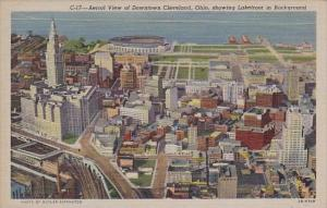 Ohio Cleveland Aerial View Of Downtown Cleveland Showing Lakefront In Background