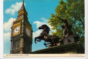 Big Ben and Boadicea Statue, London, 1976 used Postcard