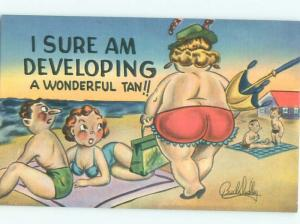 Linen Risque signed CHUBBY FAT WOMAN GOES TOPLESS BEACH AB6752@