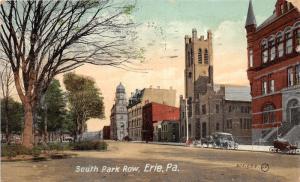 Erie Pennsylvania~South Park Row~Church-Vintage Car-Horse Wagons~1909 Postcard