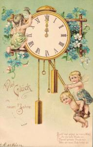 Happy New Year vintage postcard Angels and a Clock 02.52