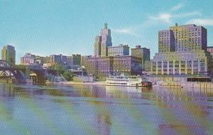 Minnesota St Paul Skyline From MIssissippi River 1964