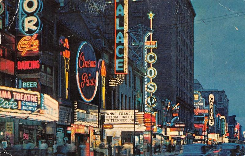 Canada Que. Montreal St. Catherine St. At Night Rue Ste Catherine Soir 1960