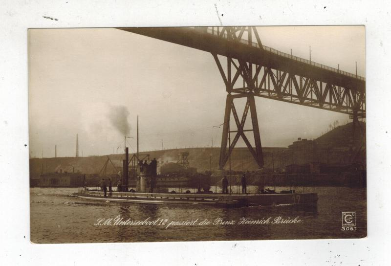 Mint Pre WW2 Germany Navy Real Picture Postcard U Boat 12 Submarine Under Bridge