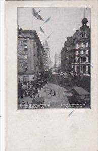New York City Street Scene Trolleys On Lower Broadway Near Post Office