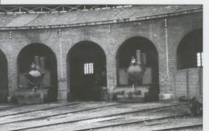 Postal 012715: FC de Utrillas-Zaragoza, locomotora deposito Zaragoza, años 60