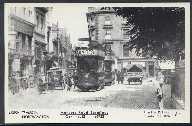 Northamptonshire Postcard - Mercers Road Terminus, Trams in Northampton CC728