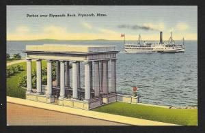 Plymouth Rock Portico w/Steamer Plymouth MA unused c1930s