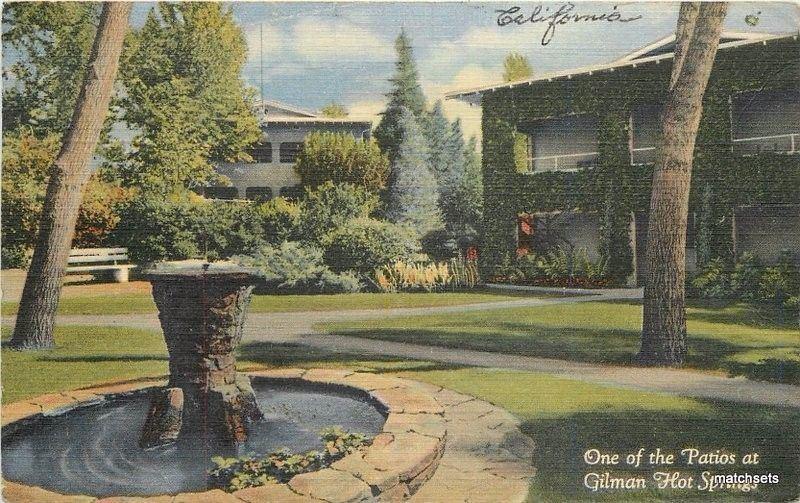 1947 Gilman Hot Springs California Patios Lounging Spots Teich Postcard 5529