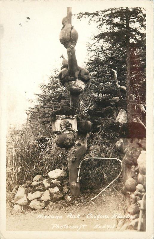 Cordova Alaska~Nirvana Park~Strange Tree Totem~Turnstile~1930s Real Photo~RPPC