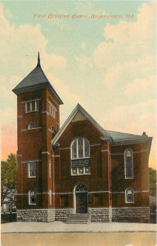 Hagerstown MD~First Christian Church~1907 Postcard