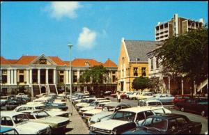 curacao, N.W.I., WILLEMSTAD, Municipal Building, Car (1960s)