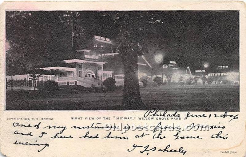 Willow Grove Park, Pennsylvania, PA, USA Postcard Night View of Midway Postal...