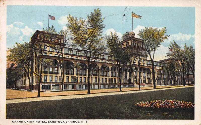 Grand Union Hotel, Saratoga Springs, New York, Early Postcard, Used in 1920
