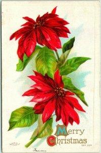 Vintage 1910s MERRY CHRISTMAS Embossed Greetings Postcard / Poinsettia Flowers