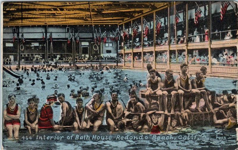 REDONDO BEACH, CA  California   INTERIOR of BATH HOUSE  N  c1910s     Postcard