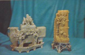 Carved Stone Smokers Set & Brush Holder From Wenchow Chekiang China