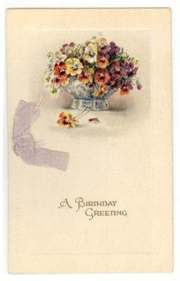 Vintage Embossed Birthday Card, POT OF PANSIES, 1924, Ger...